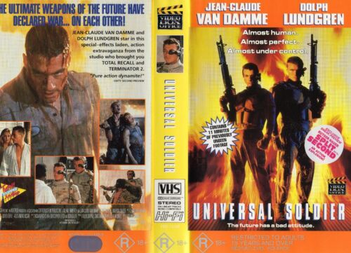 UNIVERSAL SOLDIER - J C Van Damme & D Lundgren - VHS -PAL - NEW - Never played!!