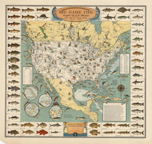 Early Big Game Fish Map Pictorial Border Fishing Fishermen Gifts Wall Art Poster