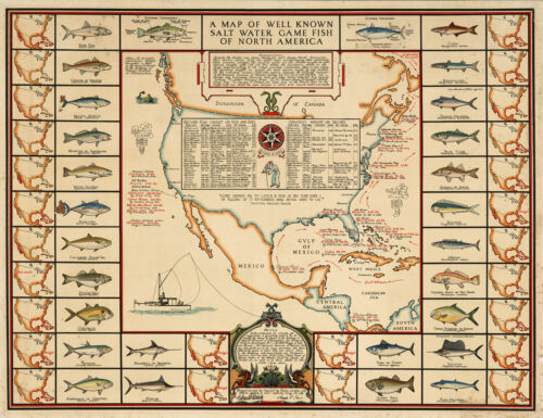 Early Map Salt Water Game Fish North America Fishing Fishermen Gifts Wall Poster