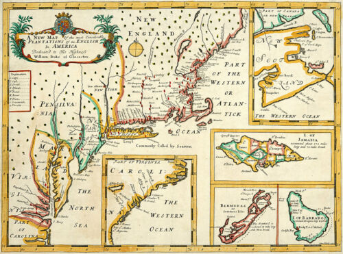 1700 Map Plantations of the English in America British Colonies Wall Art Poster