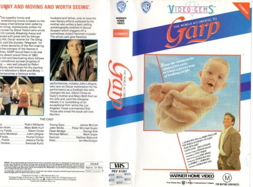 THE WORLD ACCORDING TO GARP - VHS - PAL -NEW -Never played! -Original Oz release