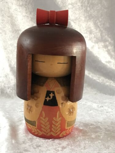 Vintage Japanese Signed Wooden Kokeshi Doll - Long Hair With Bow