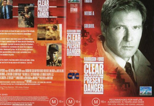 CLEAR AND PRESENT DANGER - VHS - PAL - NEW - Never played! - Original Oz release