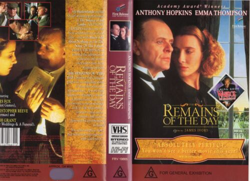 THE REMAINS OF THE DAY - VHS - PAL - NEW - Never played! - Original Oz release