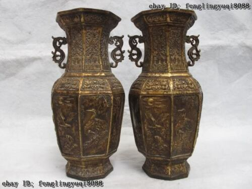 China Royal Palace Classic Copper Bronze Eight arris Red-crowned Crane Vase Pair