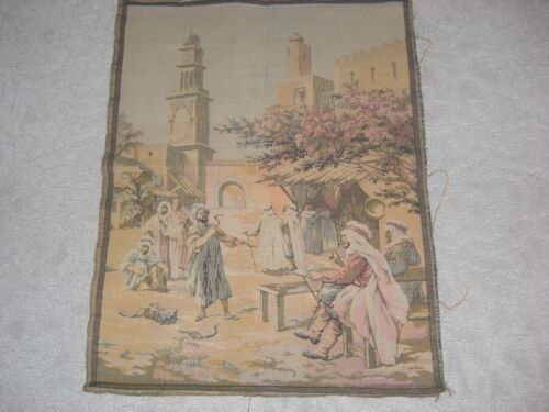 """VINTAGE FRENCH TAPESTRY 25"""" X 20"""" MOROCCAN MARKET SCENE"""