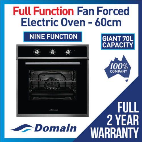 NEW 60cm FULL FUNCTION BLACK FASCIA FAN FORCED ELECTRIC WALL OVEN <br/> BONUS 12% OFF AUTO APPLIED AT CHECKOUT - BE QUICK
