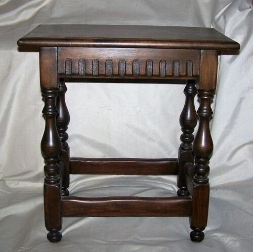 Antique Joined Dark Oak Stool Beveled Plank Top Carved Fluted Apron Turned Legs