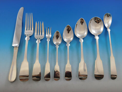 Fiddle by Porter Blanchard Sterling Silver Flatware Set Service Dinner 116 pcs
