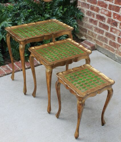 Set 4 Italian Gold&Green Tole Florentine NESTING Coffee End Tea Tables Vintage