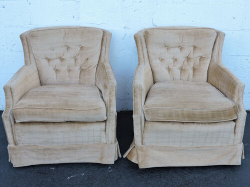Mid Century Pair of Tufted Living Room Side Chairs 7108