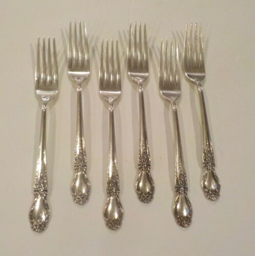 Set/6 International BROCADE Sterling Silver Luncheon / Place Forks, No Monograms