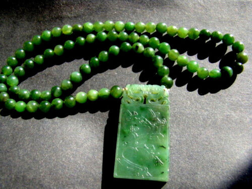 19th antique chinese hand carved spinach jade necklace & pendant