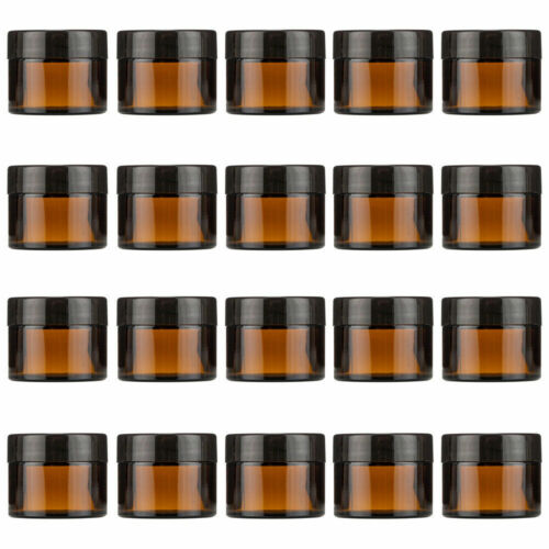20Pcs 30G Amber Glass Cosmetic Jars Face Cream Homemade Lotion Cosmetic Gels AU