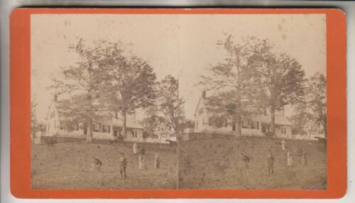 VINTAGE STEREOVIEW - RESIDENCE OF D.E. HOLMES - PHOTO BY J E WEST OF GRAFTON NY