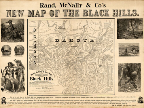 1877 Black Hills South Dakota Wyoming Gold Rush Map Mines Mining Fields Poster