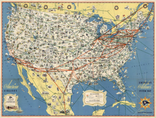 American Airlines System Map Route of the Flagships Wall Art Poster Print Decor