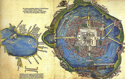 1524 Map of the Aztec Capital The Nuremberg Map of Tenochtitlan Wall Art Poster