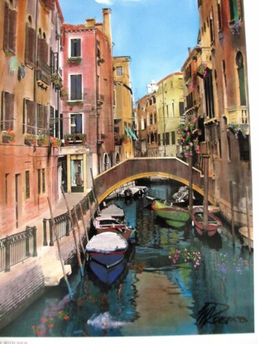 """Martin Roberts """"Canal With Shop"""" Hand Signed Litho Photo Venice Italy Boat Art"""