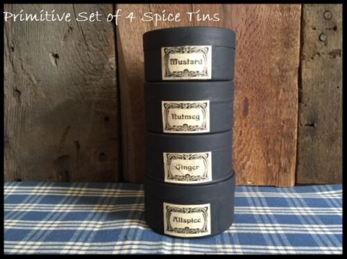 Farmhouse Set of 4 Primitive Spice Pantry Tins Black with Paper Labels