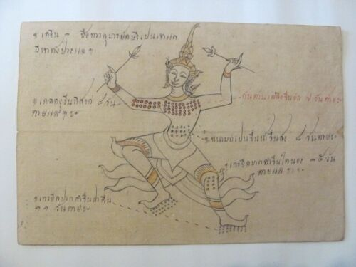 Antique Thai Medical / Samut Khoi Paper Drawing with Script