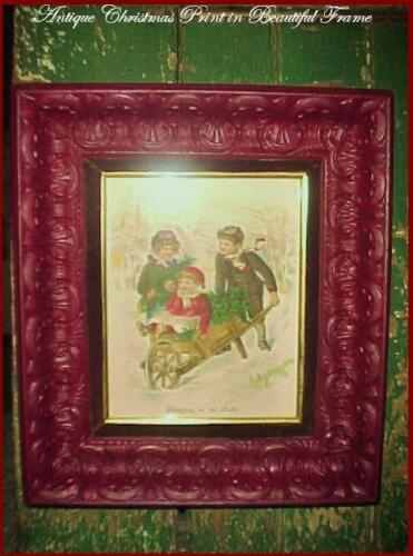 Antique Victorian Original Christmas Children Print Beautiful Carved Wood Frame