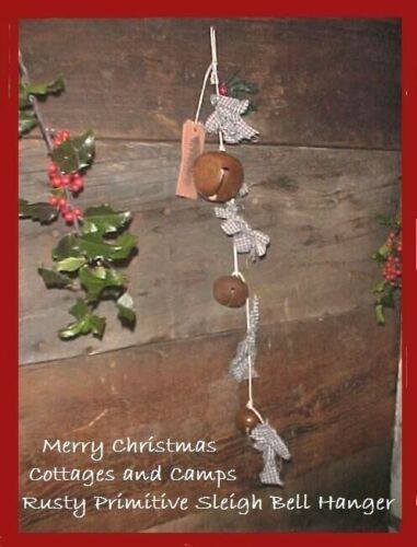 Primitive Rusty Sleigh Bells Country XMAS SWAG Hanger Antique Blue Homespun Ties