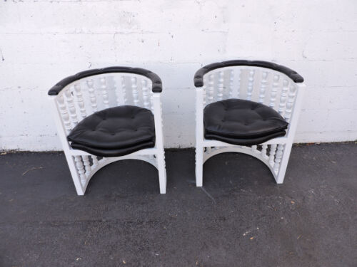 Hollywood Regency Mid Century Pair of Painted Barrel Shape Side Chairs 7349