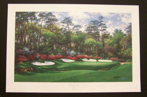 """Larry Dyke Signed Limited Edition Print """"13th at Augusta"""" The Masters Golf"""