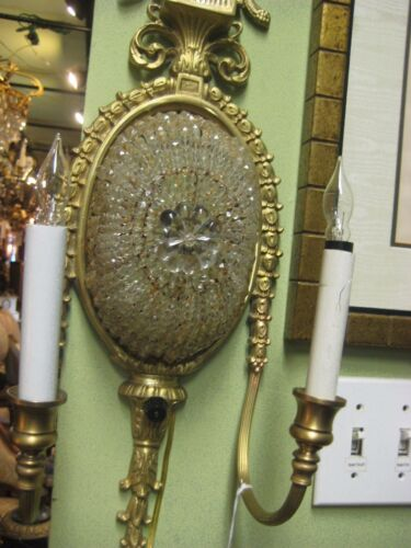 EXTRA ORDINARY PAIR OF 2 LIGHTS BRONZE SCONCES WITH CRYSTALS