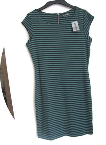 Hot Topic Black And Teal Striped Dress With Zip Size MD