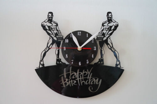 Happy Birthday Design vinyl record wall clock [ black gloss sticker ] home art