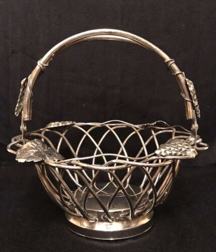 Silverplate WIRE BASKET w/Handle, Grape and Leaf Motif, VTG Studio Silversmiths