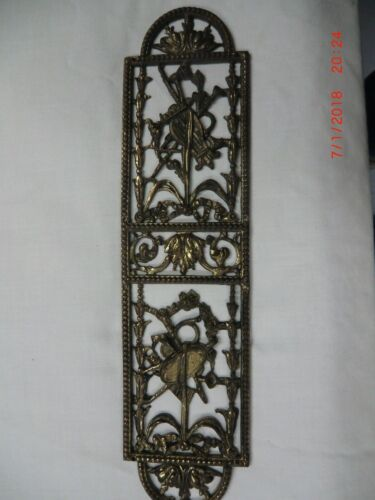 SOLID BRASS ITALIAN ANTIQUE ORNATE OLD DOOR FINGER PUSH PLATE