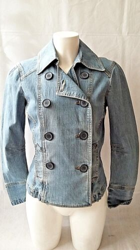 WOMENS DOUBLE BREASTED JACKET STRETCH DENIM  UK 10  NO BOUNDERIES