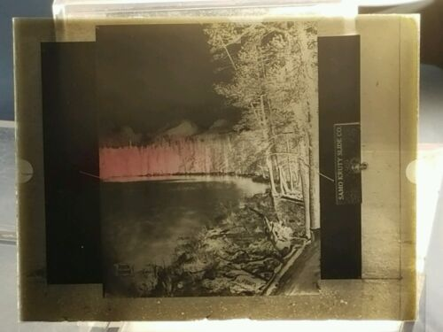 Vintage GLASS NEGATIVE SLIDE Rock Island Picture of Wooded Lake with Pine Trees