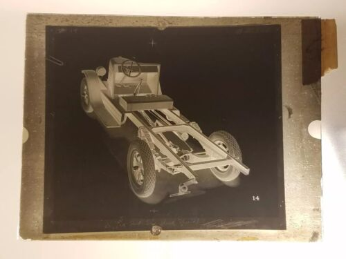 Vtg GLASS NEGATIVE SLIDE Picture of International Six Speed Special Car Chassis