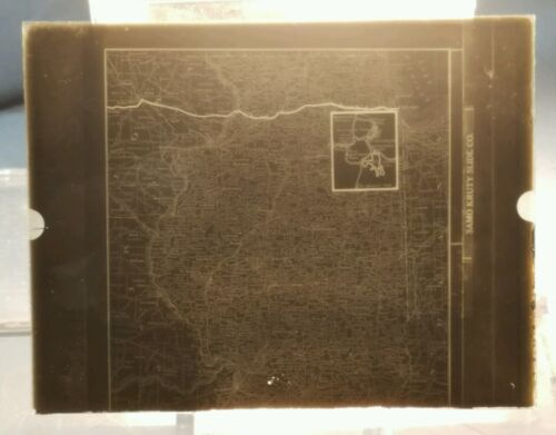 Vintage GLASS NEGATIVE SLIDE Railroad Map of Illinois with Yellowstone Insert