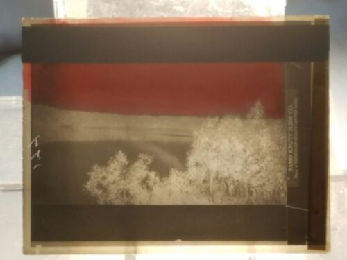 Vintage GLASS NEGATIVE SLIDE Picture of Overlook Of Lake or River (in Midwest?)