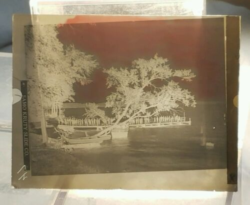 Vintage GLASS NEGATIVE SLIDE Picture of Row of People On Dock At Lake or River