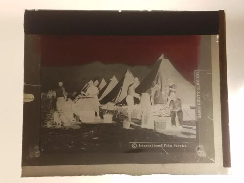 Vintage GLASS NEGATIVE SLIDE Picture of Army Military Camp Food Prep?
