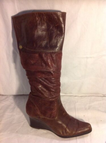 Tamaris Brown Knee High Leather Boots Size 5