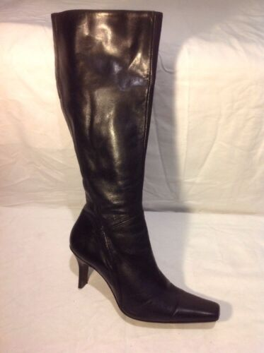 Next Black Knee High Leather Boots Size 6.5