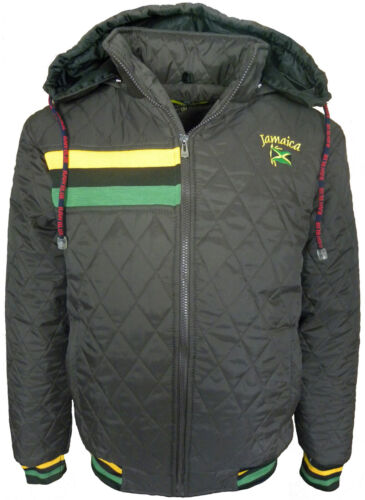 Mens Jamaica Raw Blue Quilted Jacket With Detachable Hood Jamaica Logo