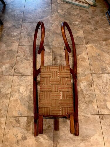 Primitive Antique Wooden Rams Head Sled Woven Seat Handmade Collectible Holiday