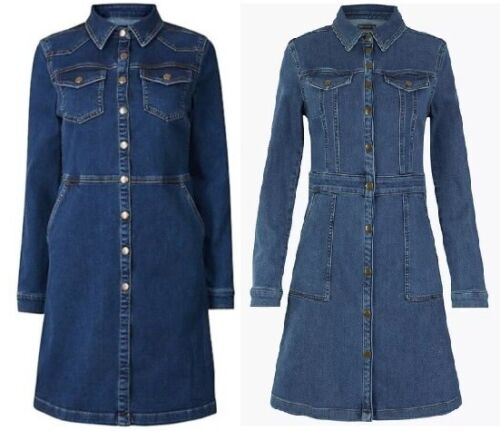 Ladies Denim Mini Holly Willoughby Shirt Dress Added Stretch Sold Out Ex M&S