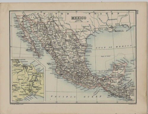 1900s Map Mexico, America 2 sided John Bartholomew Edinburgh Geographical Instit
