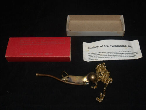 VINTAGE BRASS BOATSWAIN'S CALL NAUTICAL MARITIME IN BOX REPRODUCTION