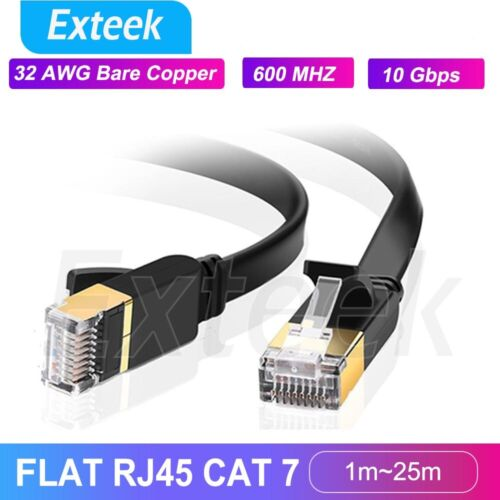 1m~25m CAT7 RJ45 10Gbps Ethernet Network Lan Cable Flat Shielded patch lead