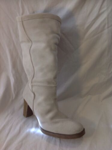 Evie Cream Mid Calf Suede Boots Size 40